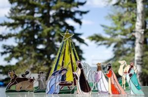 Yes, they have stained glass nativity scenes, too. May seem abstract but it does look lovely.