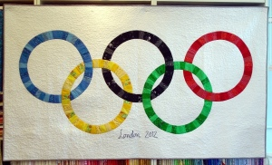 You see how each of the rings were made from different cloth strips. Made for the London Olympics as indicated.
