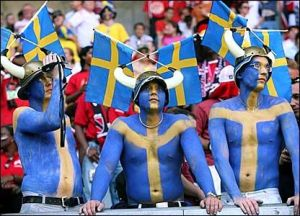 Okay, these are just Swedes with their bodies painted and wearing Viking helmets. Still, this is pretty insane if you think about it.