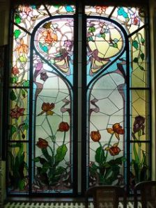 Now this is certainly the kind of Art Nouveau style you might see on old mansions. This one has a spring theme.