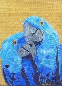 Of course, parrots might mate for life. Yet, you have to like the brilliant blue shades on this, too.