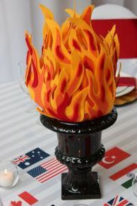 Much of the flame on this one is made from foam. Yet, still uses an urn as a receptacle.