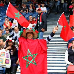 Don't see a lot of Morocco Olympic fans on the Internet. But this guy is proudly wearing his country's flag.