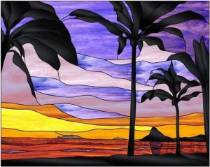 Yes, a stained glass sunset on the beach. Notice how the sky is in yellow, orange, and purple.