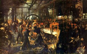 Here's a German painting of a bunch of guys working in a foundry during the 19th century. Notice how there's no attention being paid to workplace safety. Also, imagine doing this work 6 days a week at 16 hours a day for less than minimum wage.