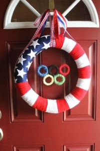 If this wreath didn't have Olympic rings on it, it would've been just an American Flag wreath. With rings, it's one for Team USA.