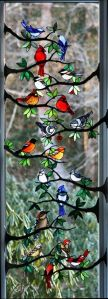 Not sure if these birds would hang out together in real life. But this makes a nice window to look at.