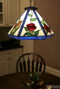 This lamp of roses is for the overhead. However, not sure if it fits in a kitchen though. Dining room, maybe.