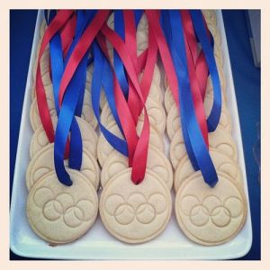 Yes, I showed Olympic medal cookies before on this post. But these have Olympic rings on them. That's different.