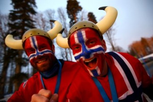 They're also wearing Viking hats, too. Because that's what Norwegian fans do, apparently.