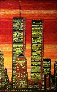 Yes, this is a mosaic of the NYC World Trade Center Towers in the sunset. Of course, a lot of us know what happened to them.