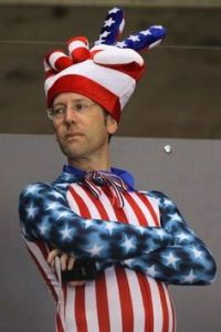 And I guess he has to don a ridiculous star spangled outfit to prove it. Love the hat though.