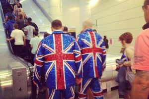 So I guess these outfits are worn by British Elvis impersonators. Then again, they must really love their team.
