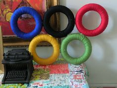 Yes, I showed an Olympic yarn wreath before. But this one is standing and the rings don't overlap.