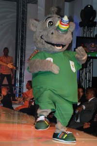 Now I understand that South Africa has him represent their Olympic team to raise awareness on Rhino poaching. However, he more or less looks like a Rhino dressed for a rave which is hard for me to take seriously. It's hilarious.