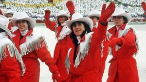 Apparently, cowboys were all the rage in the 1980s. So the Canadians had to have such outfits for their Olympics, too. Still, mountie costumes would've been more appropriate.