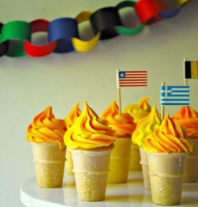 These have cupcake filling in them with torch icing on top. Some of them even have flags, too.