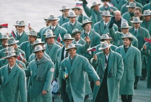 Just because a fashion might look cool in a 1940s movie doesn't mean it would look great at the Olympics or anywhere else. These 1940s inspired Russian uniforms illustrate my point.