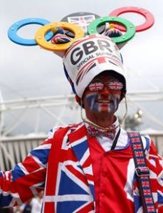 After all, he's decked in Union Jacks and has a large Olympic hat. So he's ready to support Team Britain.