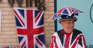 And he seems well dressed for the possibility. Doesn't hurt he's using the Union Jack.