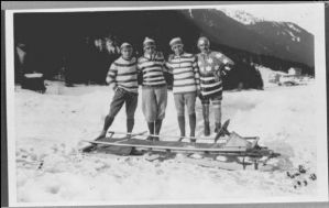 "From Whitelines: ""No one is entirely sure who these fellas are, apart from the fact they're one of the first ever Olympic bobsleigh teams with a truly out-there fashion sense. Clearly the dude on the far right didn't get the memo: ""I said Breton stripes, not sabotage the American flag!"" And when did pantaloons go out of fashion – 1601?"""