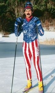 Could you imagine Ned Flanders in a star spangled ski outfit? Well, here's a good visual approximation.