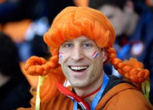 Okay, it's a Dutch guy in a pigtail wig. But as they say, anything goes in Amsterdam.