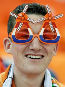 Yes, nothing shows pride for the Netherlands than windmill sunglasses. How Dutch of him.