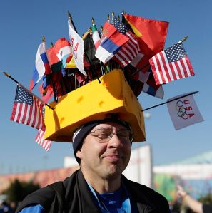 I bet you any money that this guy is from Wisconsin. Because cheese hats are associated with Green Bay Packers fans.