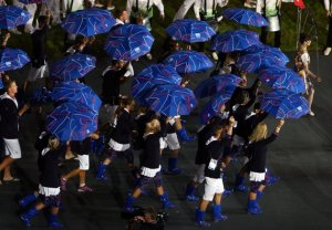 I can understand the umbrellas given the UK's weather patterns. But go-go boots, not so much.
