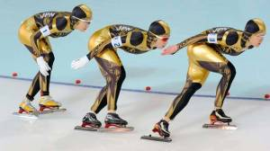 "From Complex: ""Speed skating uniforms are a hit or miss. Sometimes they can look really awesome and slick (see the Mach 39), and other times they just look awkward and unfitting. It's the chance you take when wearing a skin tight body uniform. Unfortunately, for Japan this one was a miss."""
