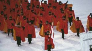 Canada: We didn't have time to design our Olympic uniforms this year. Can you please help us? Russia: I'm sure these old Soviet uniforms will do the trick. How does that sound like? Canada: Fine.