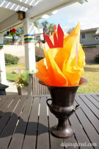 But unlike real flames, this Olympic torch doesn't pose a fire hazard. Great for parties.