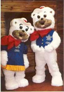 "From Listverse: ""Named deliberately after folky sorts of greetings, these cowboy-dressed polar bears aimed to represent Western Canadian hospitality. Employed during the 1988 Calgary Olympics, these giant, furry bear suits came off less hospitable than they did just plain creepy, looking like cheap teddy bears with five o'clock shadows – creepier still knowing a grown (and likely sweaty) man was hiding inside."""