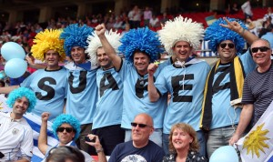Yes, have to hand it to these Uruguay guys again. Those wigs certainly look ridiculous to me.