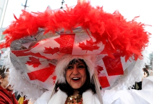 My, that's a really huge hat with feathers. Might expect that from Mexico. Canada not so much.