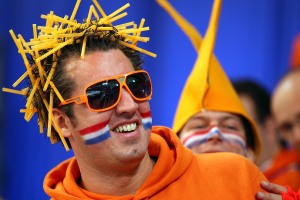 Since he has straw in his hair. Yes, the Dutch have a strange way with things at the Olympics.