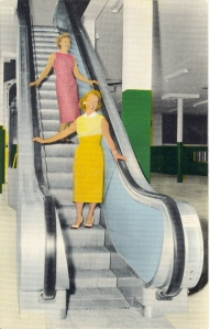 Yes, it's so fun to go down the escalator at the mall. This is especially for the Ooomah Loompah's beautiful daughter. Or Donald Trump's mother, but I don't wish to offend the woman in yellow.