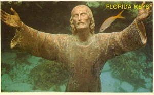 Guess you can say that Jesus is literally swimming with the fishes here. Though he seems to have his arms outstretched more than anything.