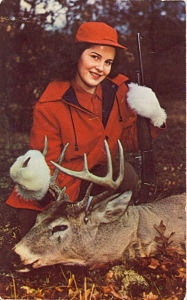 I guess the orange and camo dress code didn't exist at the time. Still, how exactly do you shoot a deer with fur mittens? I don't get it.