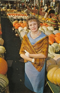 Because the farmer's market is the place where women dress up in furs, gloves, and fine jewelry. Don't forget to top it off with a tiara.