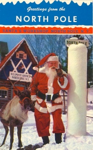 For some reason, I think having this postcard from some place in upstate New York instead of the North Pole might lead to childhood disillusionment. Mostly because a lot of kids don't imagine Santa living in upstate New York.