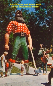 And here's Robin Hood complaining about Paul Bunyan's stiffness and bad fashion sense. The two do not get on.
