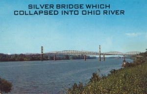 "Caption: ""WORST U.S. HIGHWAY BRIDGE DISASTER IN HISTORY — Occurred Dec. 15, 1967 when Silver Bridge collapsed. It carried U.S. 35 from Knauga, Ohio to Point Pleasant, W. Va. Built 1928 of unique eye-bar and rocker tower design. Forty-six bodies have been found and two still missing. Railroad bridge in background is still in use."" Really? This is just in really bad taste."