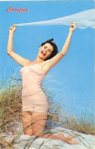 Can't do a postcard post without a woman in a swimsuit like this one. Of course, why she brought a thin cloth to raise above her head, I have no idea.