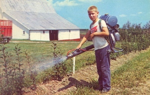 Okay, it's a mister with a jetpack for watering plants. Still, the card say this mist blower gives deep penetration and steady output.