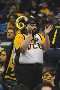 He's even wearing golden ram horns at a VCU basket ball game. Very fitting at that school.