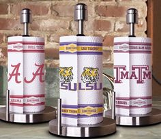 Pictured are Alabama, LSU, and Texas A&M. Of course, regular paper towels do the job just fine, are probably cheaper, and you can get them anywhere.