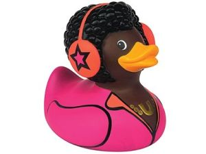 Doesn't hurt that he has a pink jumpsuit, headphones, and a fro. Really classy for the pond.