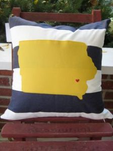 It's a pillow of the state of Iowa. And I guess the heart is where the University of Iowa is. Makes sense.
